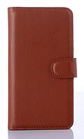 Кожаный чехол-книжка для Lenovo S860 коричневый