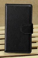 Кожаный чехол книжка для Nokia Lumia 520 черный