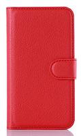 Кожаный чехол книжка для Nokia Lumia 520 красный