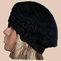 Вязаная женская шапка-берет с цветком черного цвета