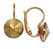 Серьги фирмы ХР, позолота.Камни: Swarovski.Цвет: жёлто-коричневый. Диаметр серьги: 11 мм. Высота: 2,1 см.CN108