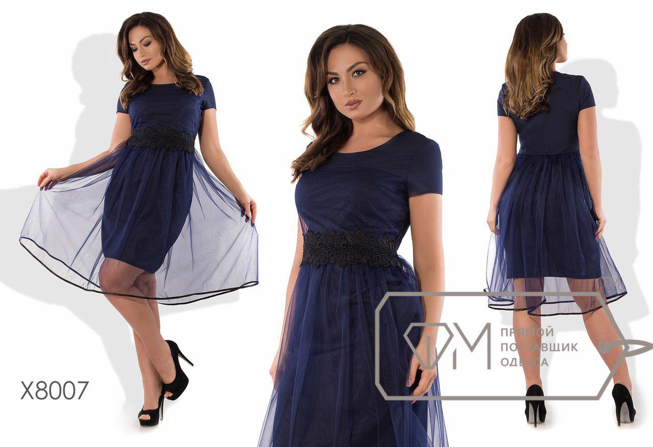 47abaab5215156f Нарядное женское платье креп костюмка, фатин Размеры: 48, 50, 52, 54 ...