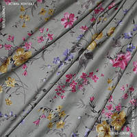 Декор сатен Алиса цветы крупные фон серый фиолет