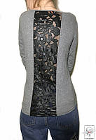 Женский лонгслив серый со вставкой черной экокожи MCY S/M 44/46