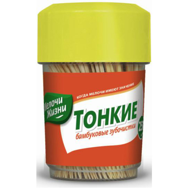 Зубочистки дерев'янi Мелочи Жизни, тубус, 250 шт