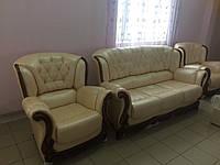 """Комплект мягкой мебели   """"Консул"""" диван + 2 кресла в натуральной коже Италия"""