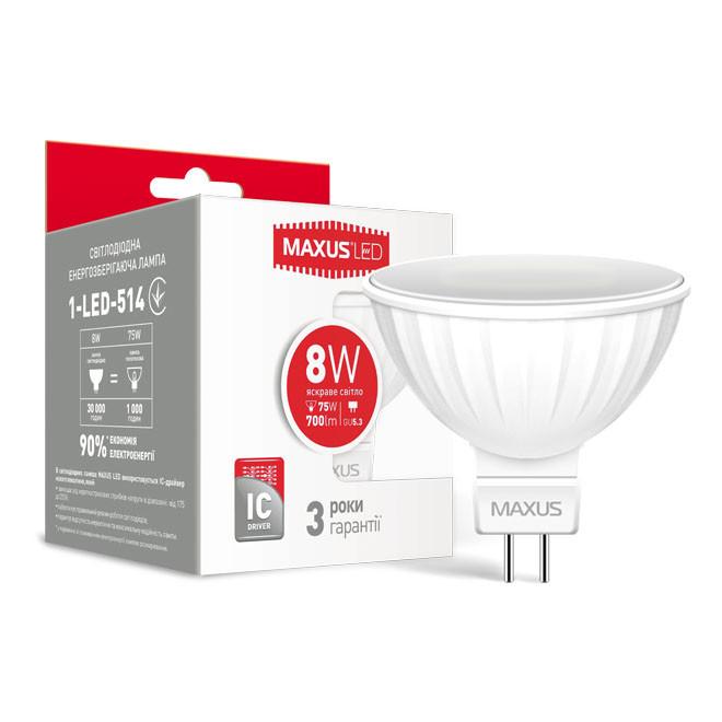 Светодиодная лампа LED Maxus MR16 8W яркий свет GU5.3 1-LED-514