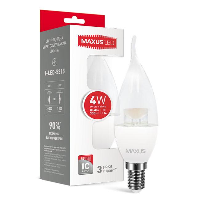 Светодиодная лампа LED Maxus C37 4W теплый свет E14 1-LED-5315