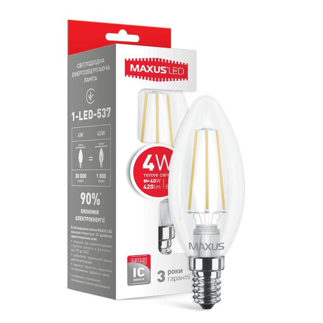 Светодиодная лампа LED Maxus C37 4W теплый свет E14 1-LED-537