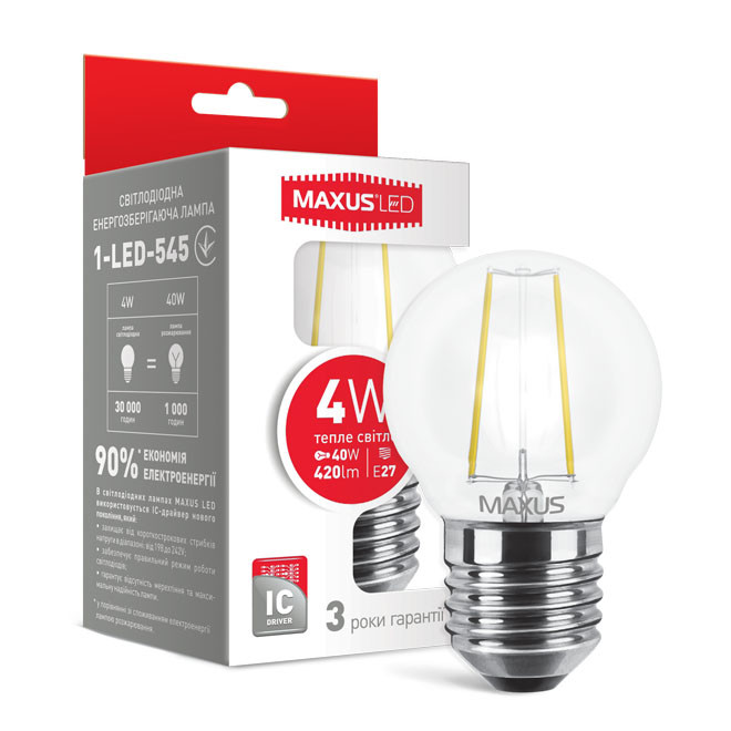 Светодиодная лампа LED Maxus G45 FМ 4W теплый свет E27 1-LED-545
