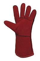Перчатки-краги спилковые красные на подкладке Seven 69246