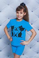 Пижама для девочки с котиками  голубая