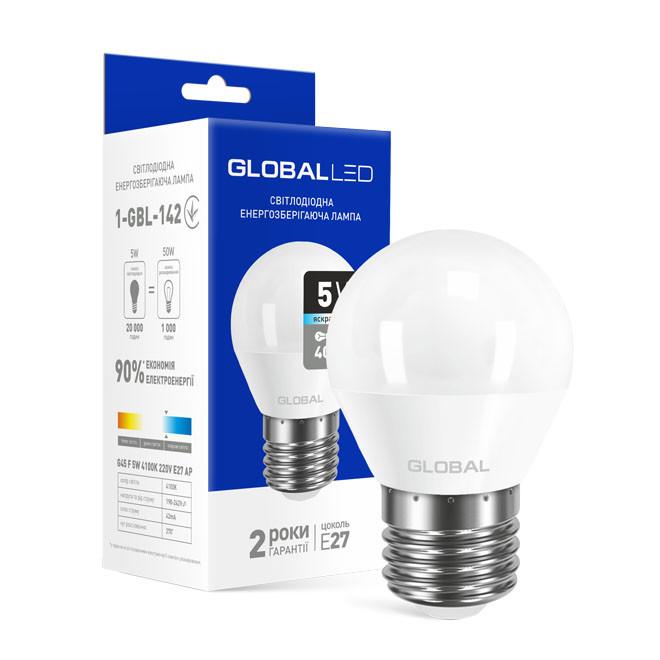 Лампа LED GLOBAL G45 F 5W яркий свет E27 1-GBL-142-02 4100K