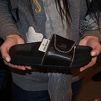 Женские шлепанцы (8040.2) 36, 37, 38, 39, 40 - кожаные черные на толстой подошве