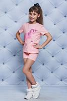 Пижама для девочки с единорогом персик