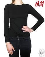 Женский лонгслив черный H&M футболка с длинным рукавом р. XS 40