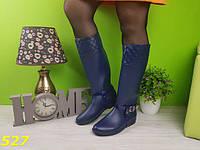 Новинка! Женские резиновые сапоги синего цвета со съемной портупеей, 37-41р.