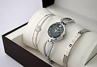 Часы женские - Gucci + 2 браслета, серебристый корпус, черный циферблат, фото 1