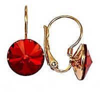 Сережки фірми ХР, позолота.Камені: Swarovski.Колір: червоний. Діаметр сережки: 11 мм. Висота: 2,1 див. CN108