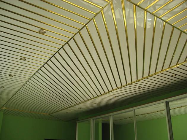 Реечный потолок ( Белый мат RAL 9003 + Золото С2), фото 2