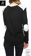 Женский лонгслив черный с белыми налокотниками Atmosphere M 46