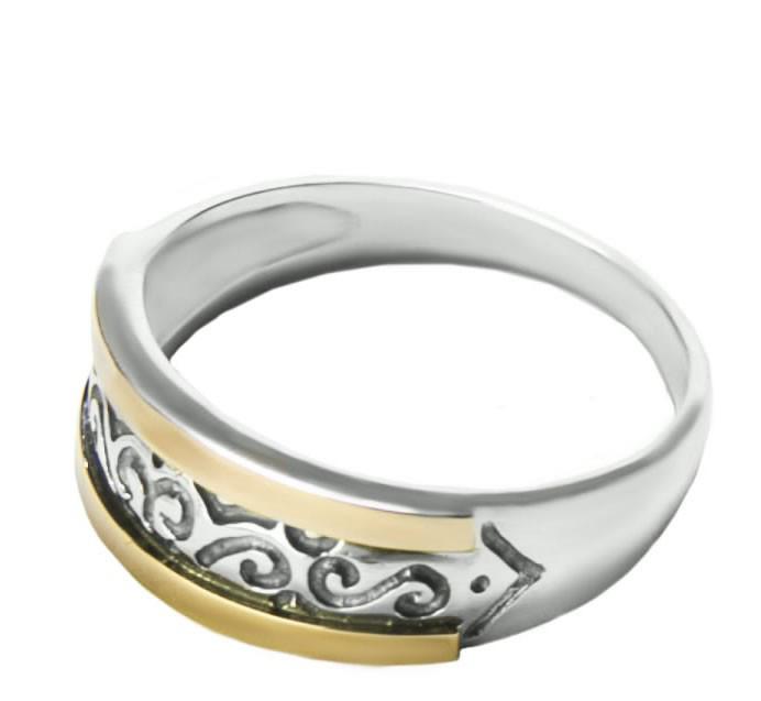 Кольцо серебряное с золотыми пластинами арт. 128