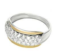 Серебряное кольцо с фианитами и золотыми пластинами Дюна арт. 127