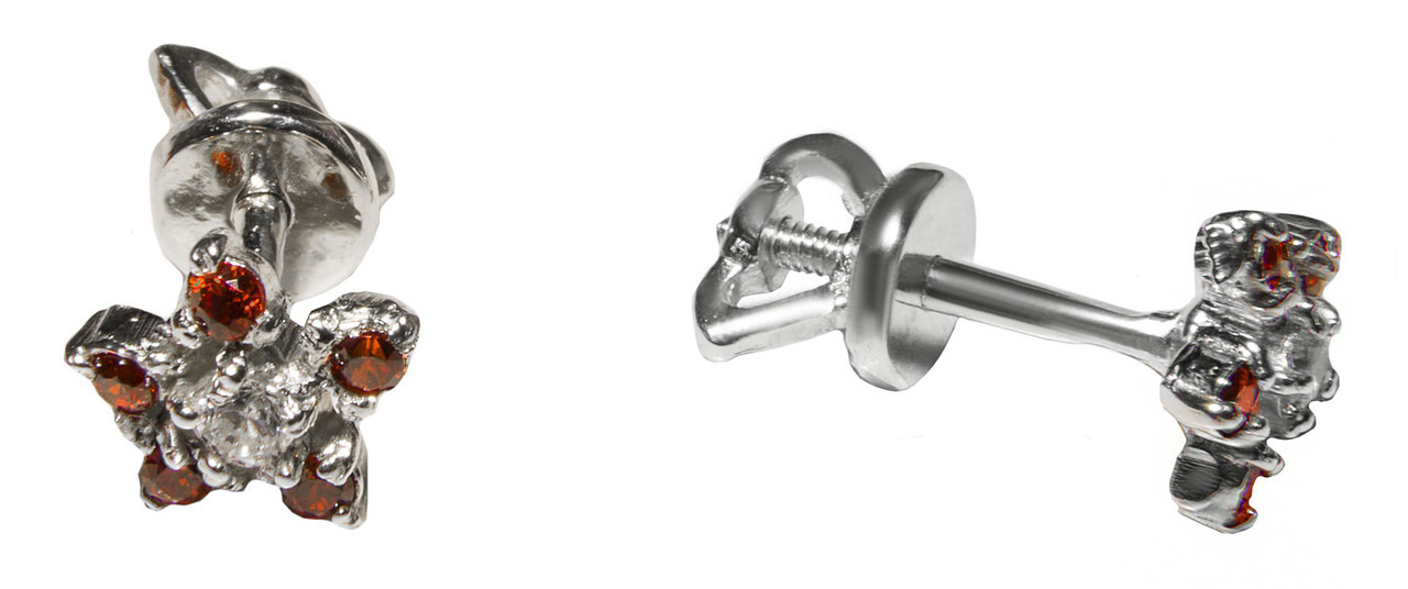 Детские сережки-гвоздики из серебра арт. 6001
