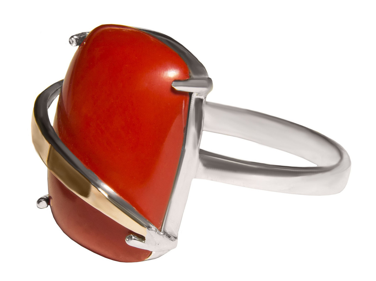 Серебряное кольцо с кораллом арт. 154