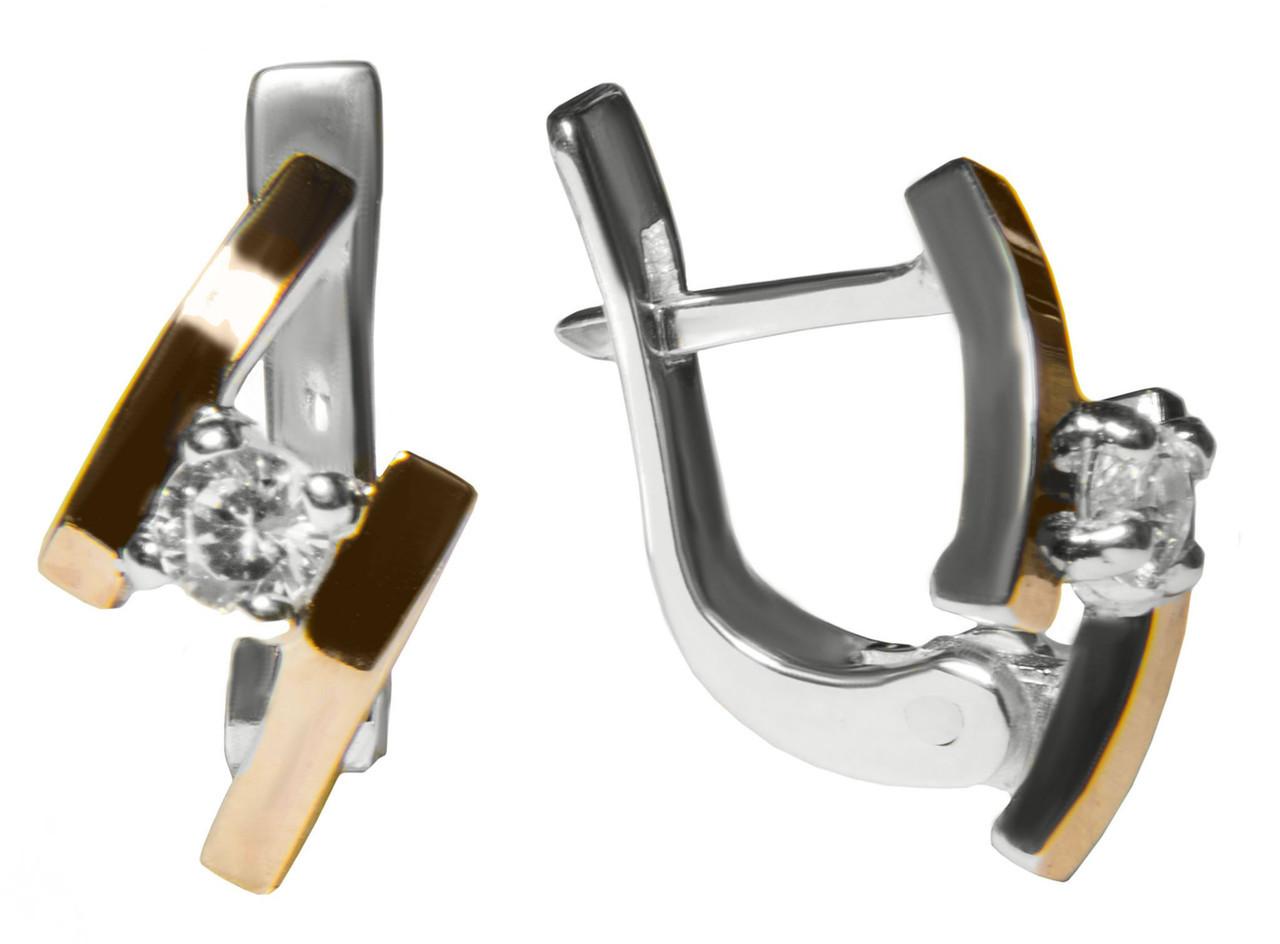 Серебряные серьги с камнем и золотыми вставками арт. 160