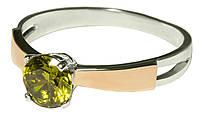 Серебряное кольцо с золотыми вставками и цирконием арт. 159, фото 1