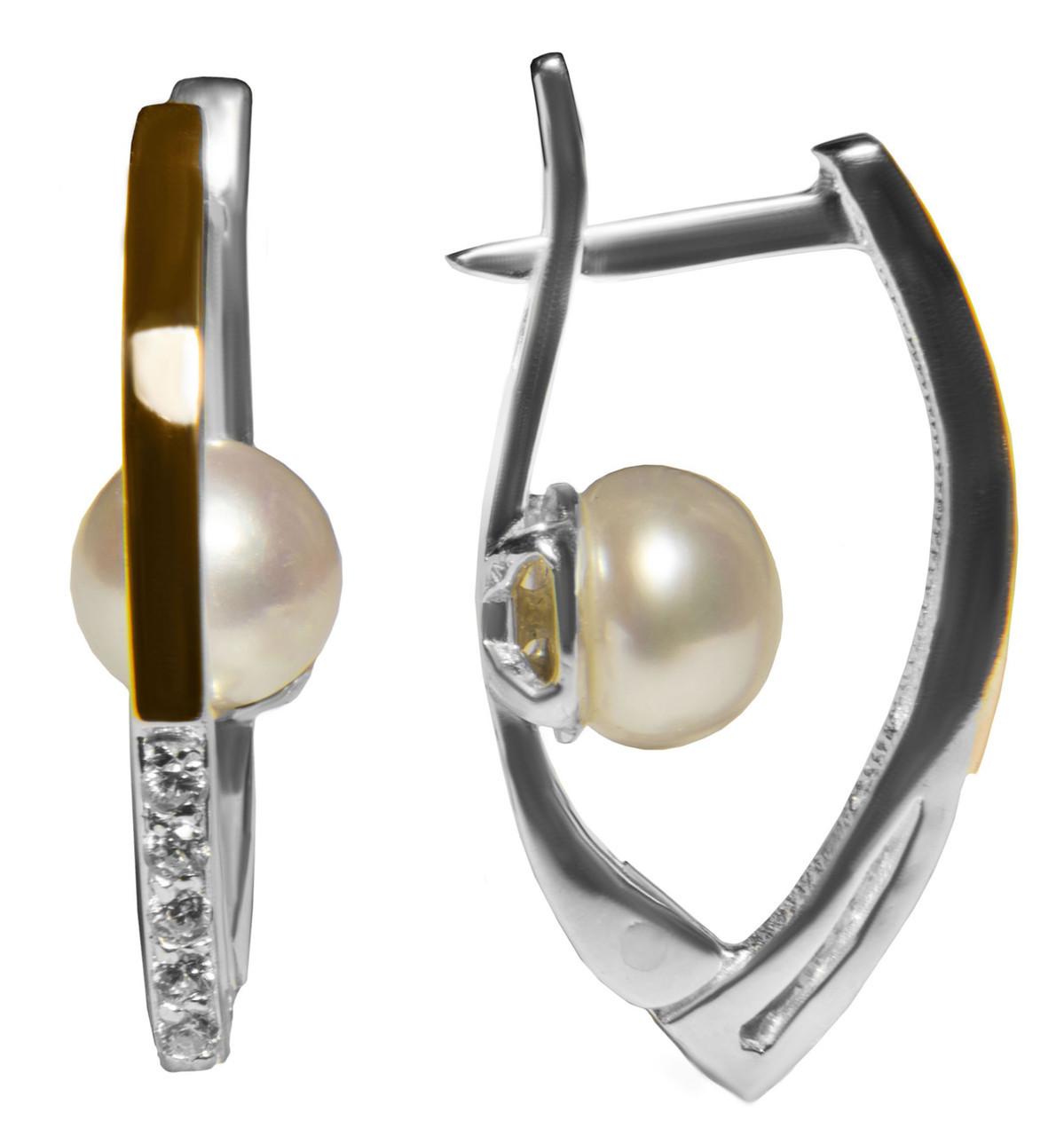 Серебряные серьги с жемчужиной и золотом арт. 158