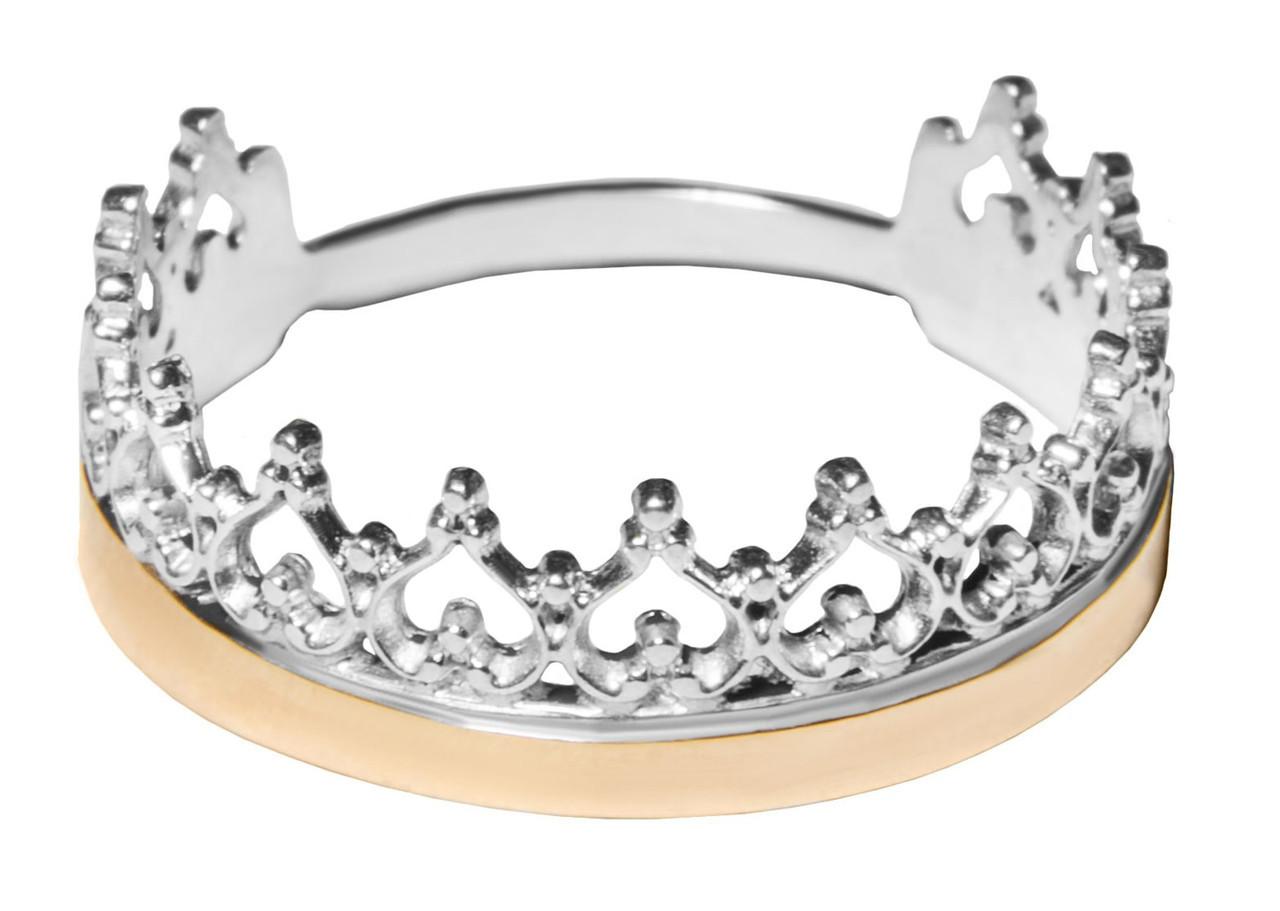Кольцо корона женское серебро + золото арт. 151