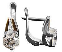 Серьги серебряные с золотыми вставками и цирконием арт. 164