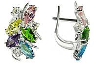 Серьги серебряные с цветными камнями арт. 192