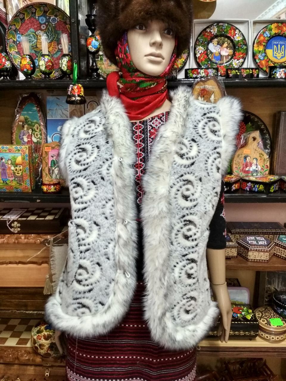 Жилет жіночий із овчини  біло-сірий  Трояндочка 44 розмір