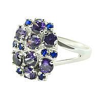 Серебряное кольцо женское с цветными цирконами арт. 204