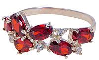 Серебряное кольцо женское с гранатами арт.198