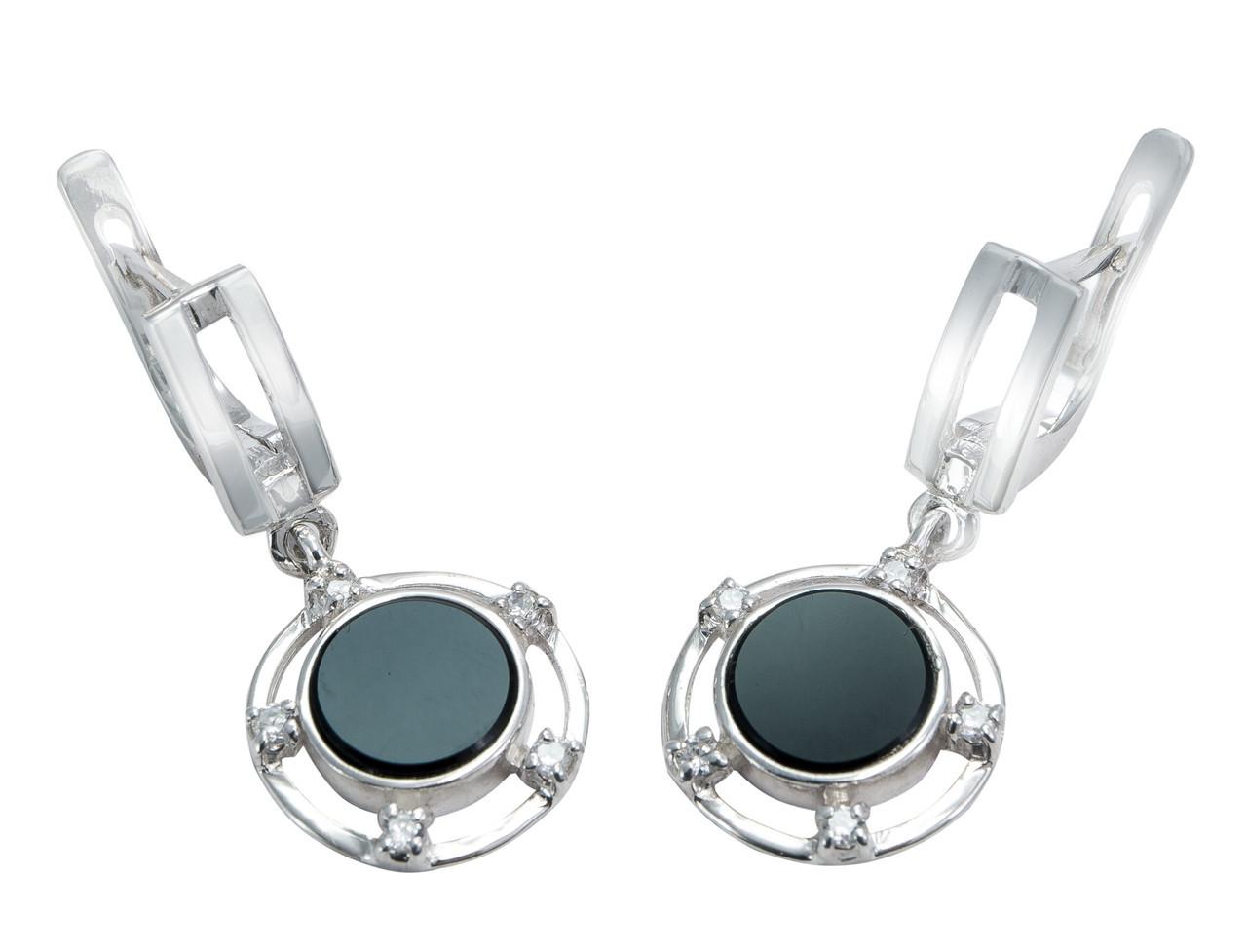 Серебряные серьги круглые с ониксом арт. 216