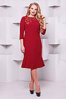 Оригинальное платье с перфорацией Анюта бордо