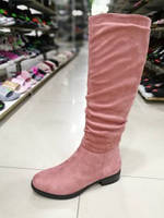 Замшевые розовые сапожки .