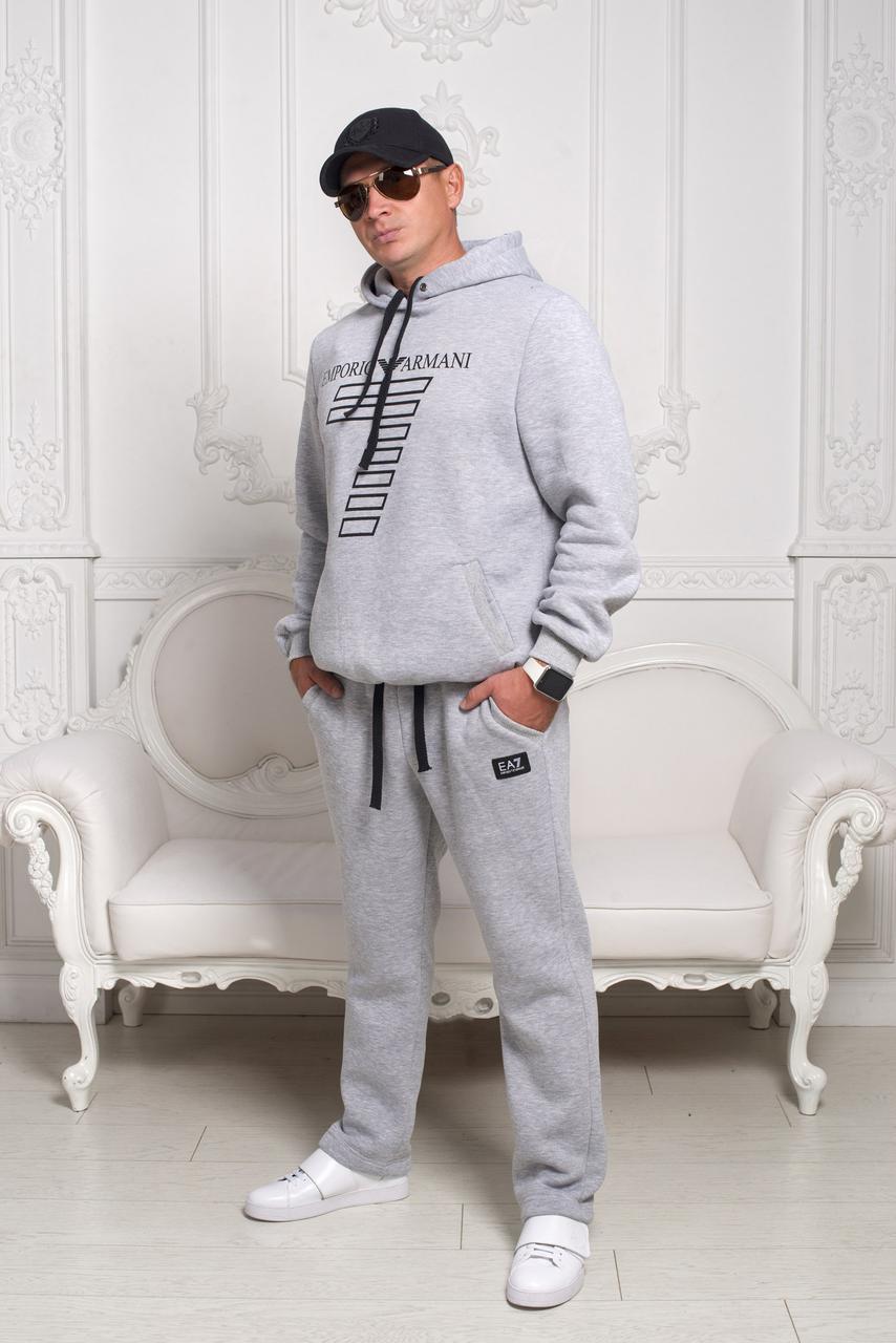 """Спортивный костюм мужской -""""Armani"""", утепленный, серый, 46, 48 размеры"""