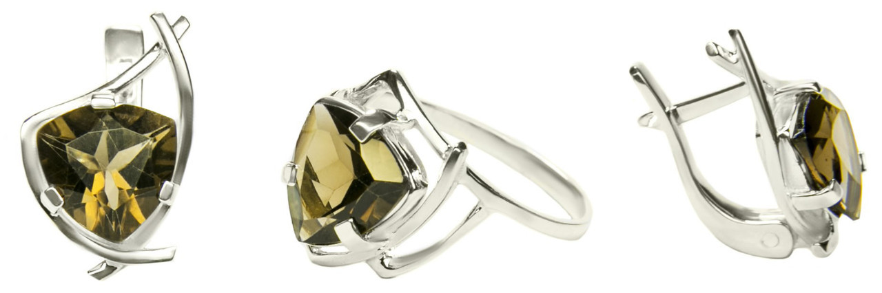 Комплект кольцо и сережки из серебра с топазом  Кристина арт 110