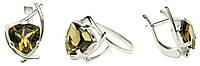 Комплект кольцо и сережки из серебра с топазом  Кристина арт 110, фото 1