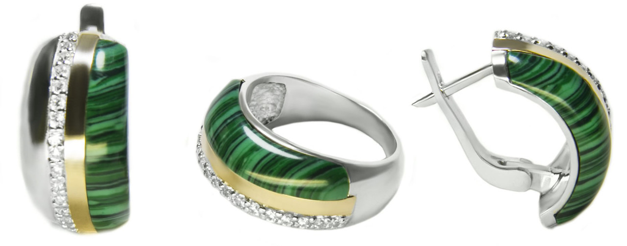 Серебряный набор кольцо и серьги с малахитом Диана арт 119