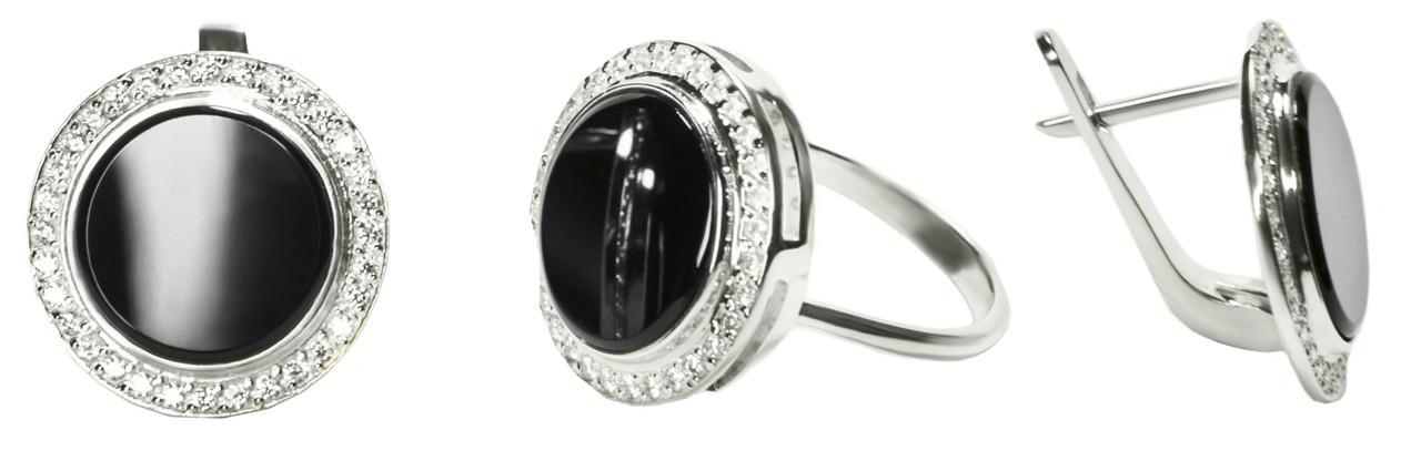 Набор кольцо и сережки серебряные Карина арт 109