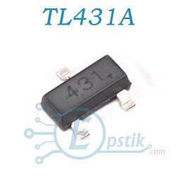 TL431AIDBZR, регулируемый источник опорного напряжения, 2.495В до 36В, SOT23