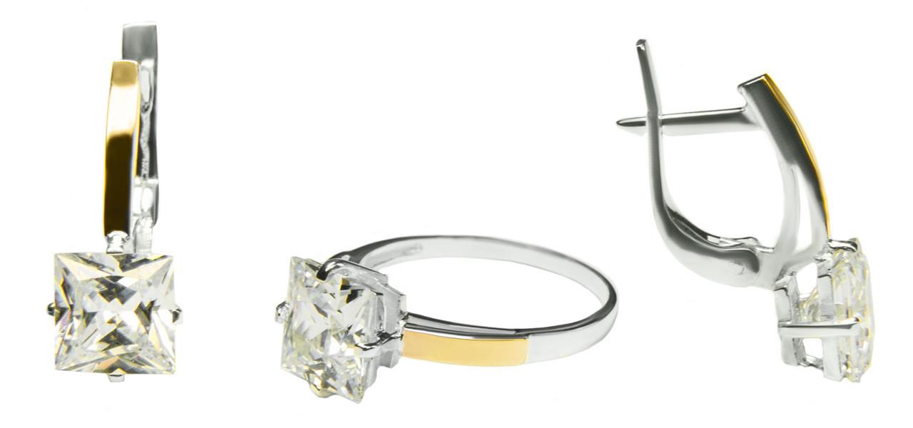 Комплект украшений из серебра с золотом женский, кольцо и серьги арт 129