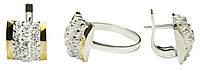 Набор кольцо и сережки серебряные с золотом Шахматка арт 132