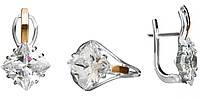 Серьги и кольцо из серебра с золотом Роскошь арт. 101